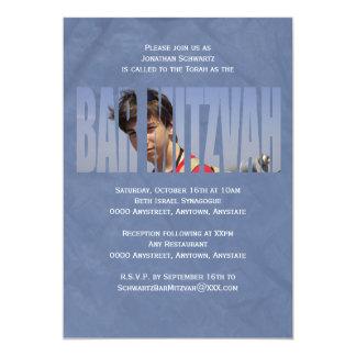Bar Mitzvah Foto-Einladung im Blau gekrümmt 12,7 X 17,8 Cm Einladungskarte