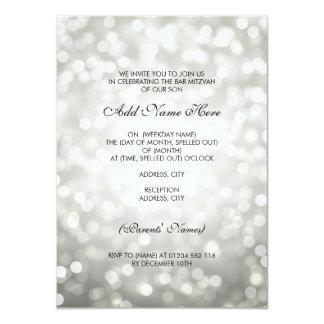 Bar Mitzvah silberne Glitter-Lichter 11,4 X 15,9 Cm Einladungskarte