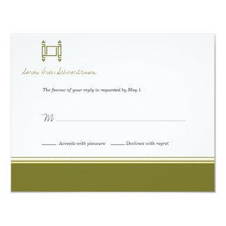 Bar Mitzvah Torah olivgrüne 10,8 X 14 Cm Einladungskarte