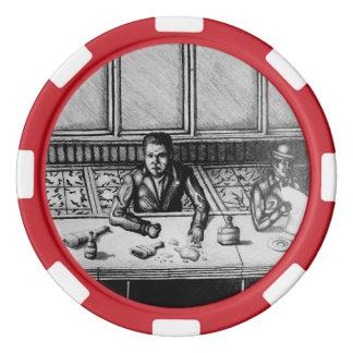 Bar-Szenen-Hand gezeichneter Chip Poker Chip Set