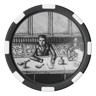 Bar-Szenen-Hand gezeichneter Chip Poker Chips