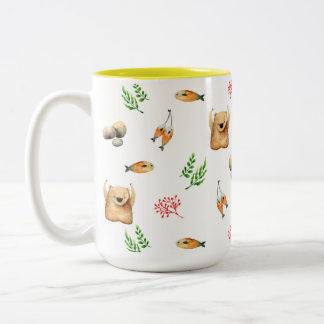 Bär und Lachse Zweifarbige Tasse