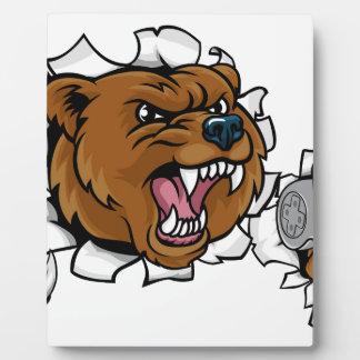 Bär verärgertes Esports Maskottchen Fotoplatte