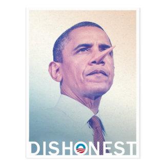 Barack Hussein Obama unehrliches Pinocchio Postkarte
