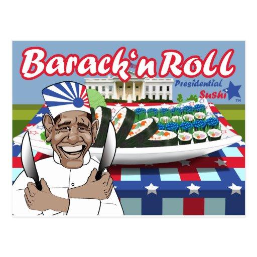 Barack n Rolle von den Präsidentensushi Postkarte