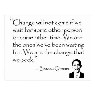 Barack Obama - ÄNDERN Sie Waren Postkarte