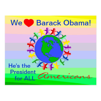 Barack Obama, ist er der Präsident für alle Amerik Postkarte