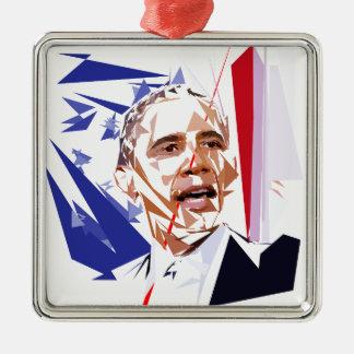Barack Obama Silbernes Ornament