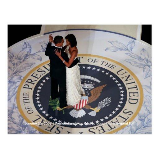 Barack u. Michelle Obama Tanzen am Eröffnungsball Postkarte