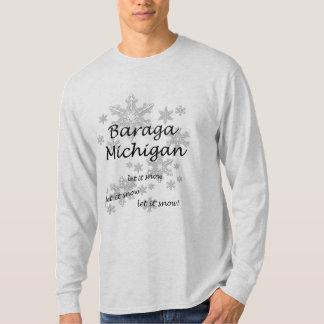 Baraga Michigan Schneeflocke-Schnee-Männer T-Shirt