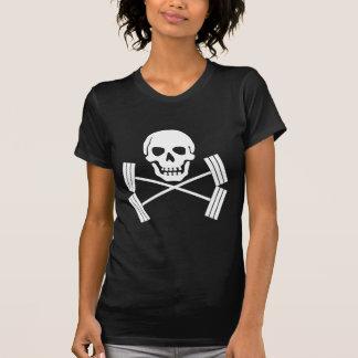 Barbell-Piratenflagge-Weiß T-Shirt