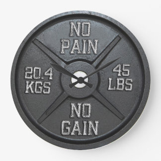Barbell-Platten-Wanduhr - keine Schmerz kein Große Wanduhr