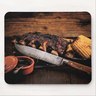 Barbequed Rindfleischrippen und -mais Mousepad
