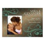 Barbizon Damast-Rolle - brown|teal Hochzeit 12,7 X 17,8 Cm Einladungskarte