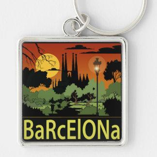 """Barcelona (2,00"""") erstklassiges quadratisches silberfarbener quadratischer schlüsselanhänger"""