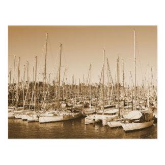 Barcelona-Hafen - Segelboote - Postkarte