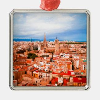 Barcelona Quadratisches Silberfarbenes Ornament