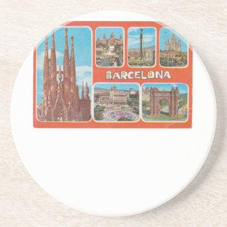 Barcelona-Rückblick Sandstein Untersetzer