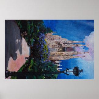 Barcelona Sagrada Familia mit Park und Laterne Poster