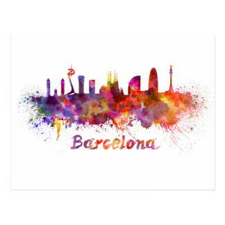 Barcelona skyline im Watercolor Postkarte