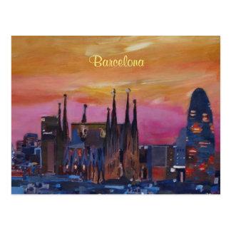 Barcelona-Skyline und Torre Agbar, Sagrada Familia Postkarte