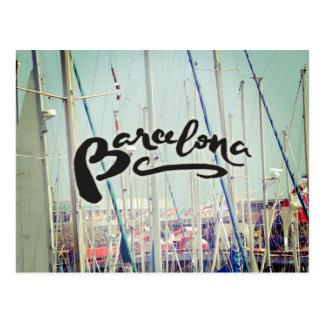 Barcelona Spain Port Europe Wanderlust Postkarte