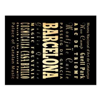 Barcelona-Stadt der Spanien-Typografie-Kunst Postkarten