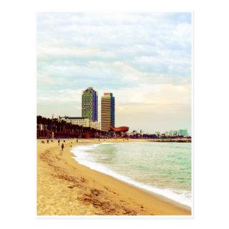Barcelona-Strand auf Sonnenuntergang Postkarten