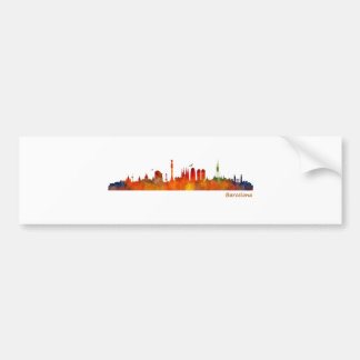 Barcelona watercolor skyline v01 autoaufkleber