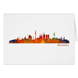 Barcelona watercolor skyline v01 karte