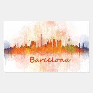 Barcelona watercolor Skyline v04 Rechteckiger Aufkleber