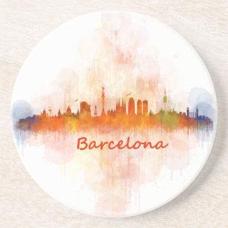 Barcelona watercolor Skyline v04 Sandstein Untersetzer