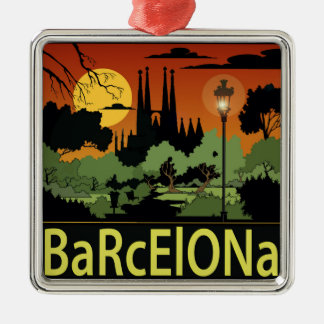 Barcelona-Weihnachtsverzierung Quadratisches Silberfarbenes Ornament