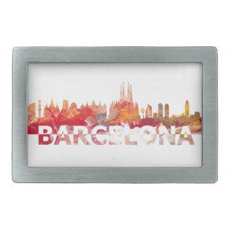 Barcelonaskyline-Silhouette Riesebuchstaben Rechteckige Gürtelschnalle