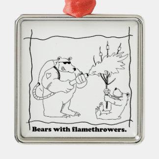 Bären mit Flammenwerfern Silbernes Ornament