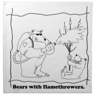 Bären mit Flammenwerfern Stoffserviette