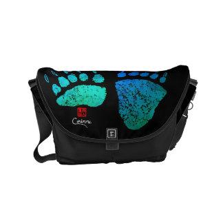 Bärenpranken in Blauem/im Grün - kleine Kurier Tasche