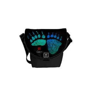 Bärenpranken in Blauem/im Grün - Minibote-Tasche Kurier Taschen