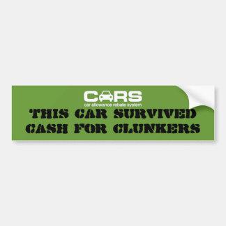 Bargeld für Clunkers Autoaufkleber
