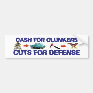 Bargeld für Clunkers, Schnitte für Verteidigung Autoaufkleber