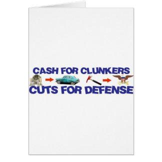 Bargeld für Clunkers, Schnitte für Verteidigung Karte