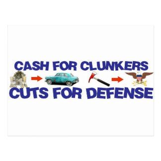 Bargeld für Clunkers, Schnitte für Verteidigung Postkarte