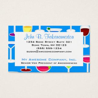 Barkeeper-/alkoholische Getränk-Thema - Blau Visitenkarte