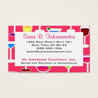 Barkeeper-/alkoholische Getränk-Thema - Rosa Visitenkarte
