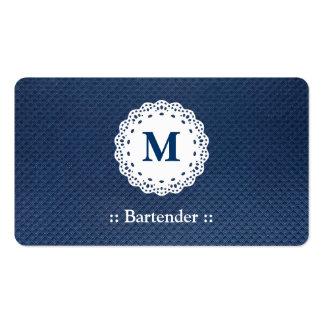 Barkeeper-Spitze-Monogramm-Blau-Muster Visitenkarten Vorlagen