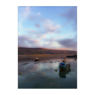 Barmouth Boote am Sonnenuntergang Acryldruck