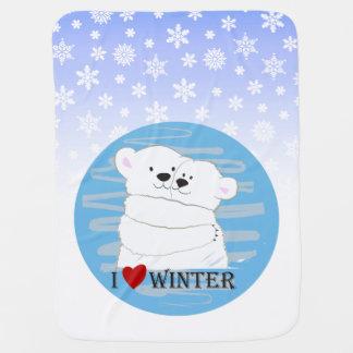 Bärn-Paar-polare Liebe-Winter-Umarmungs-niedliches Kinderwagendecke