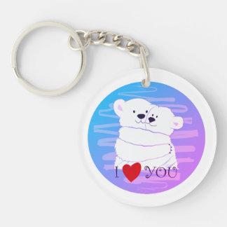 Bärn-Paar-polare niedliche Liebe-Winter-Umarmung Schlüsselanhänger