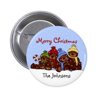 Bärnfamilie Weihnachtsknopf Runder Button 5,1 Cm