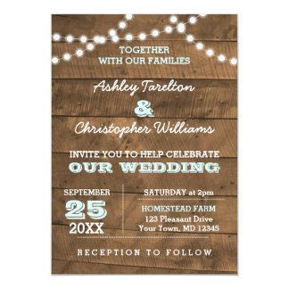 Barnwood beleuchtet Aqua-Hochzeits-Einladung 12,7 X 17,8 Cm Einladungskarte